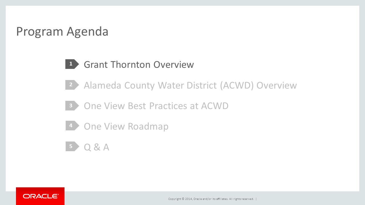 Program Agenda 1. Grant Thornton Overview Alameda County Water District (ACWD) Overview One View Best Practices at ACWD One View Roadmap Q & A