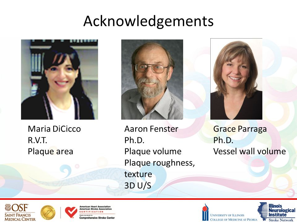 Acknowledgements Maria DiCicco R.V.T. Plaque area Aaron Fenster Ph.D.