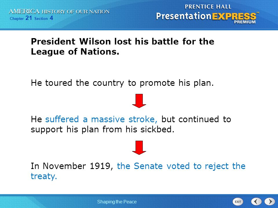 President Wilson lost his battle for the League of Nations.