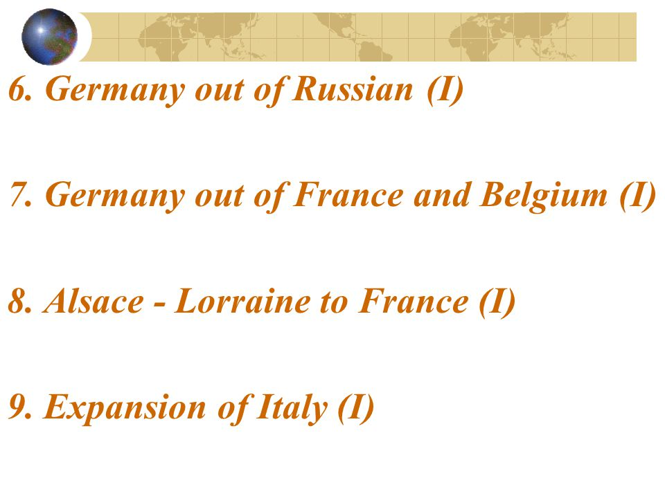 6. Germany out of Russian (I)
