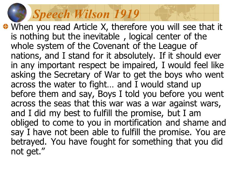 Speech Wilson 1919