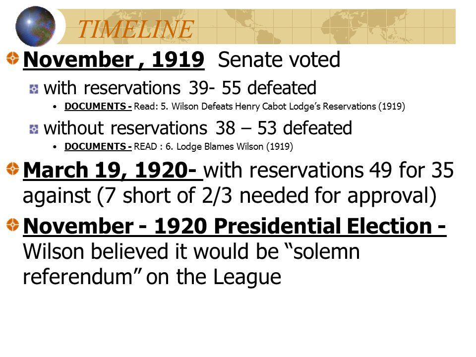 TIMELINE November , 1919 Senate voted