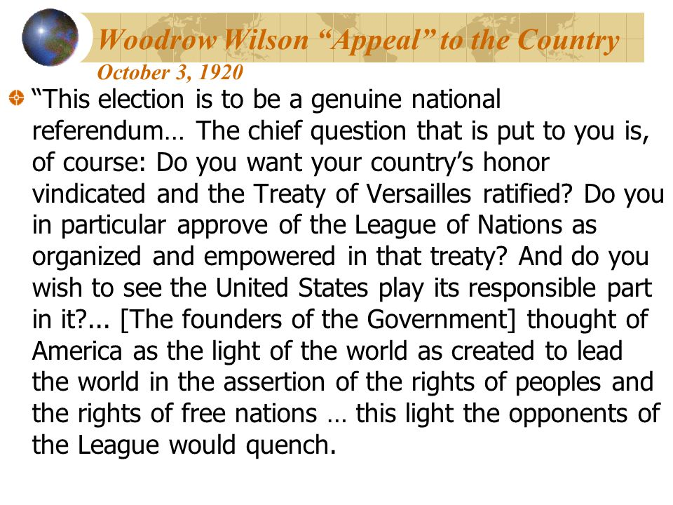 Woodrow Wilson Appeal to the Country October 3, 1920