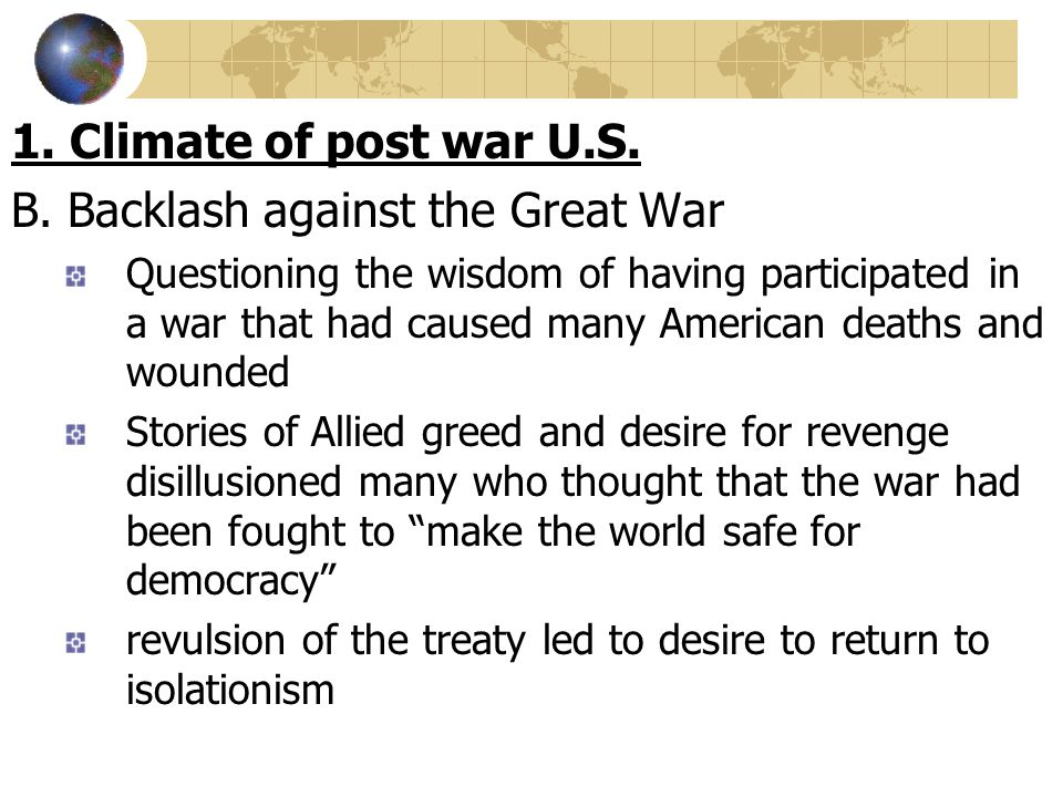 B. Backlash against the Great War