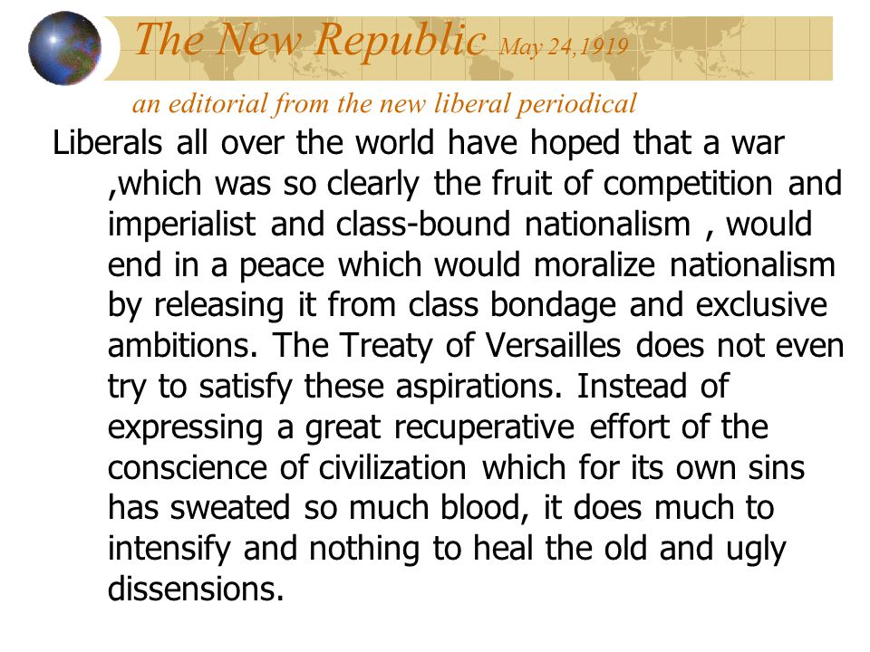 The New Republic May 24,1919 an editorial from the new liberal periodical