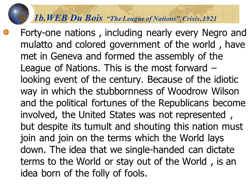1b.WEB Du Bois The League of Nations , Crisis, 1921