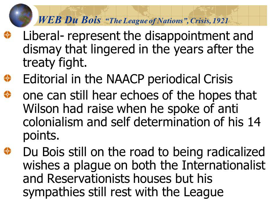 WEB Du Bois The League of Nations , Crisis, 1921