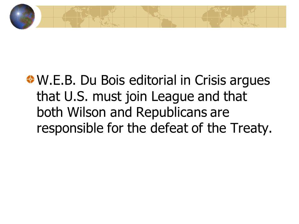 W. E. B. Du Bois editorial in Crisis argues that U. S