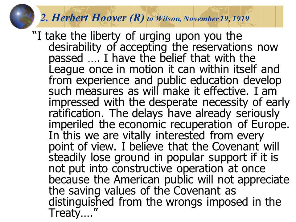 2. Herbert Hoover (R) to Wilson, November 19, 1919