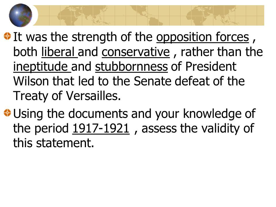 wilson vs the senate treaty of versailles dbq