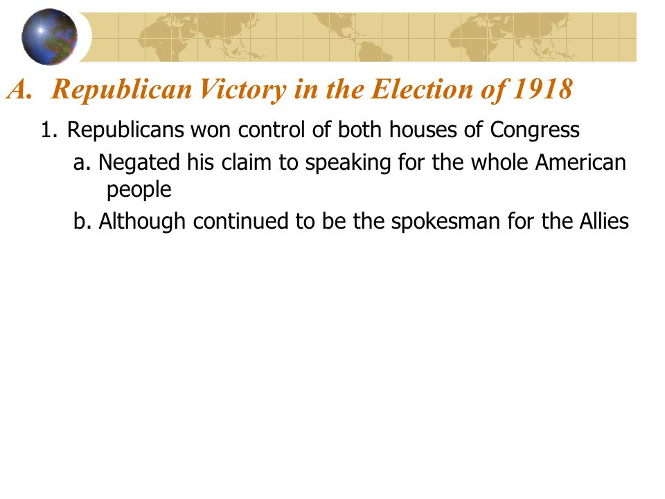 Republican Victory in the Election of 1918