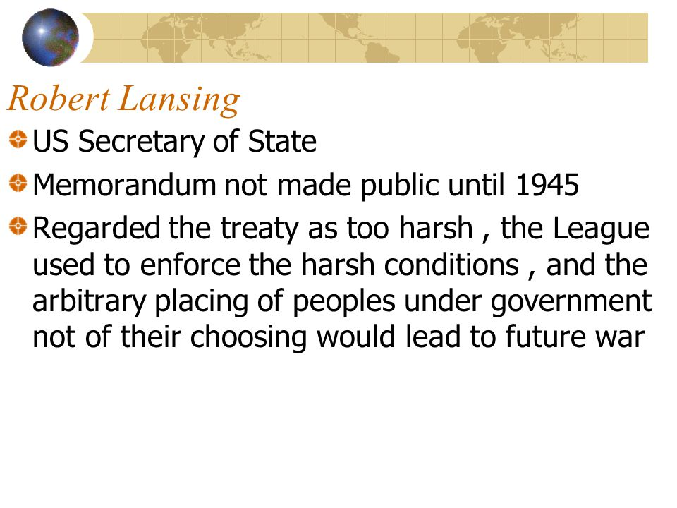 Robert Lansing US Secretary of State