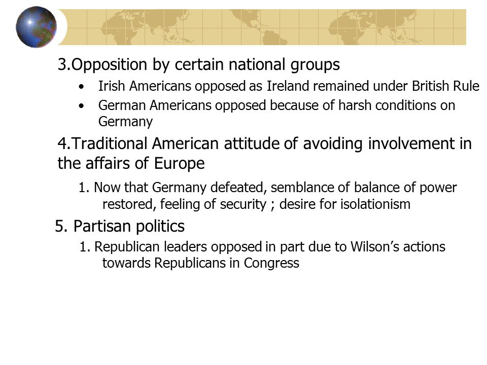 3.Opposition by certain national groups