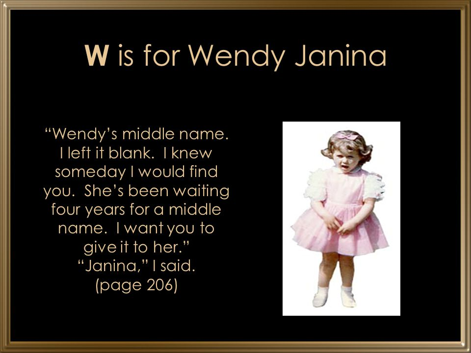 W is for Wendy Janina