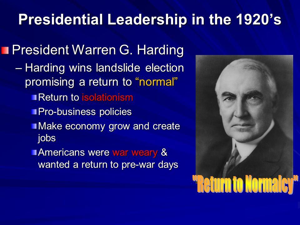 Presidential Leadership in the 1920's