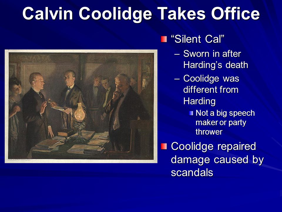 Calvin Coolidge Takes Office