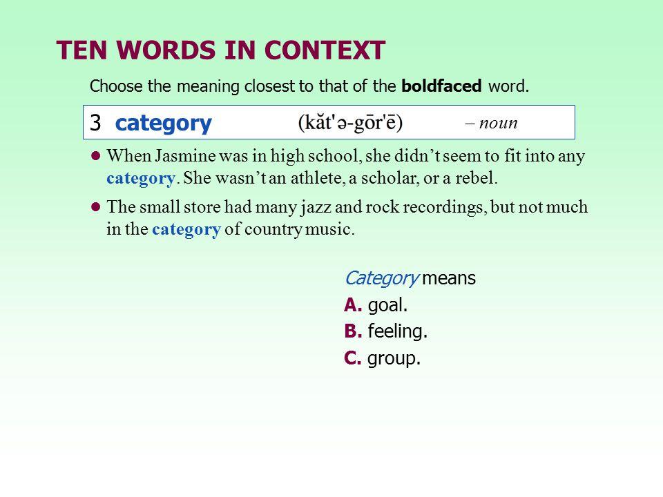 TEN WORDS IN CONTEXT 3 category – noun