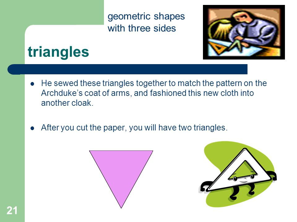 triangles 21 geometric shapes with three sides