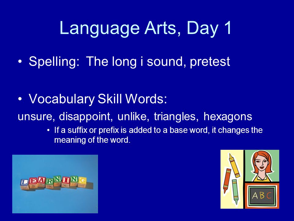 Language Arts, Day 1 Spelling: The long i sound, pretest