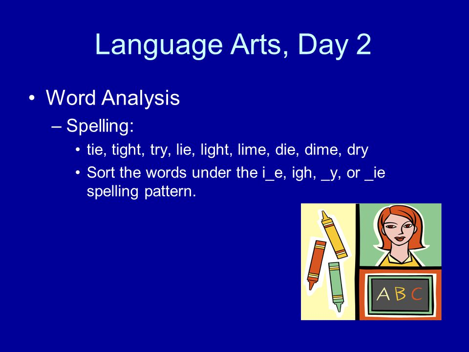 Language Arts, Day 2 Word Analysis Spelling: