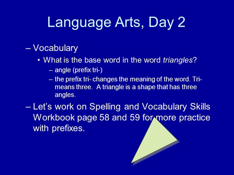 Language Arts, Day 2 Vocabulary
