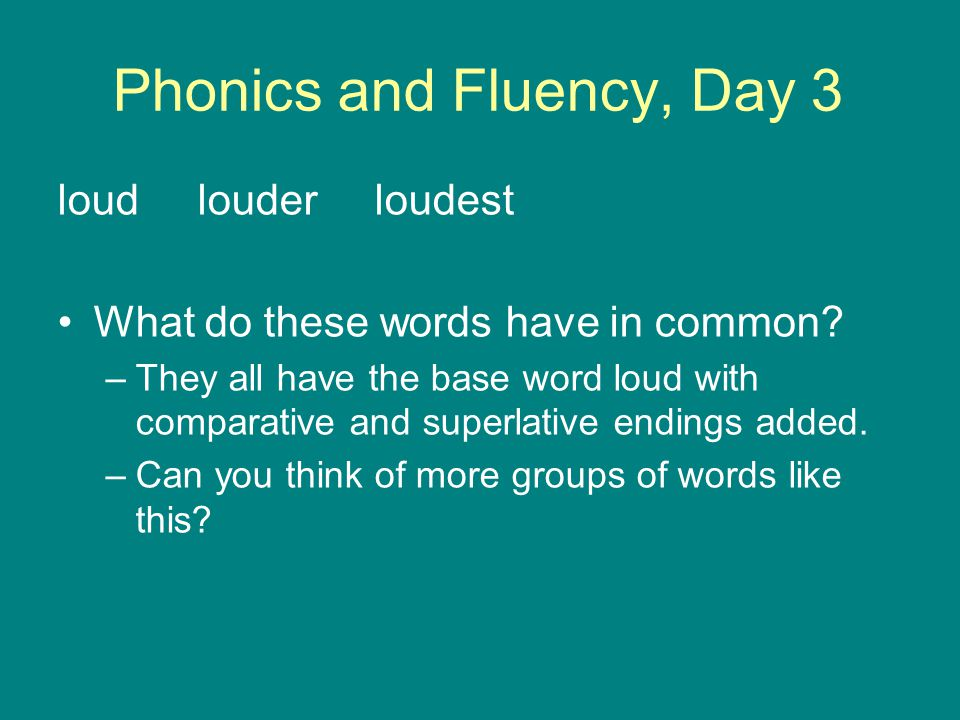 Phonics and Fluency, Day 3