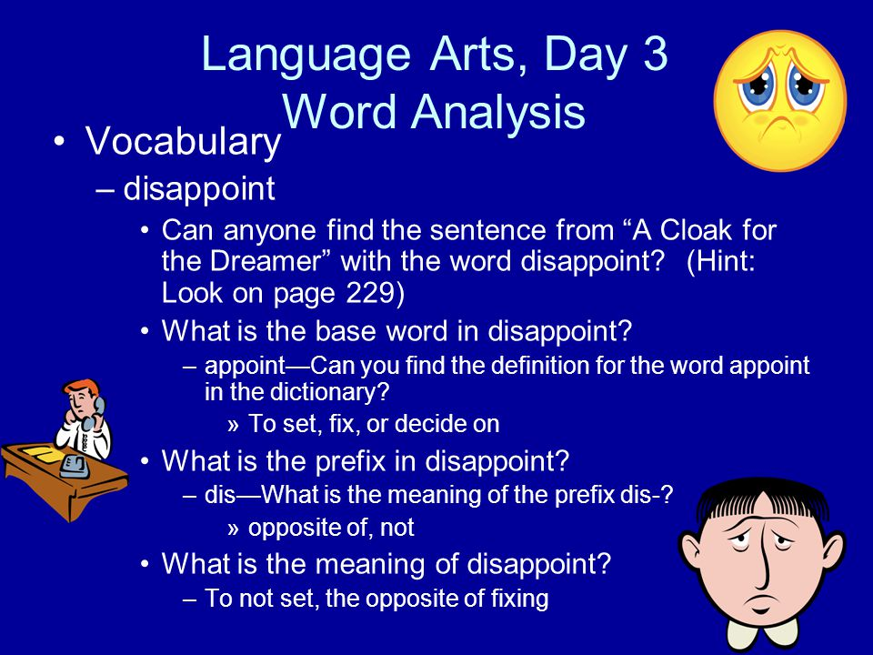 Language Arts, Day 3 Word Analysis