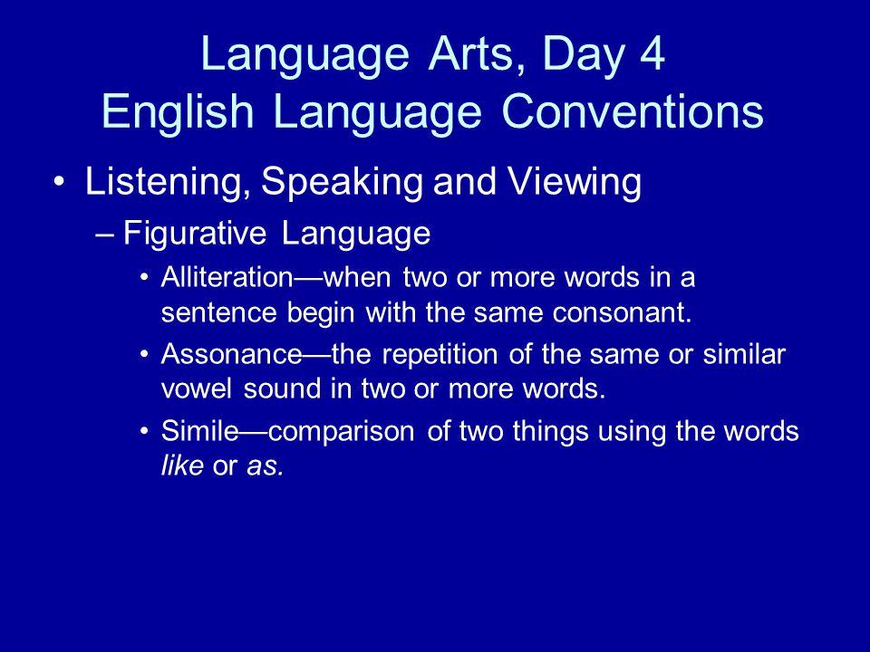 Language Arts, Day 4 English Language Conventions