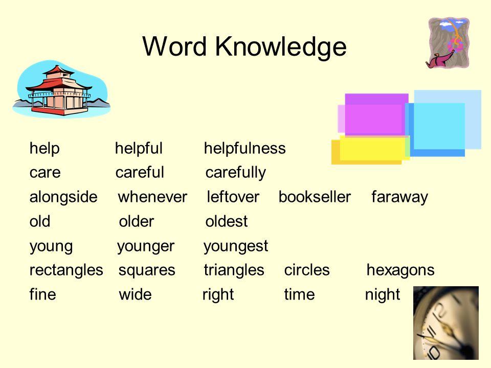 Word Knowledge help helpful helpfulness care careful carefully