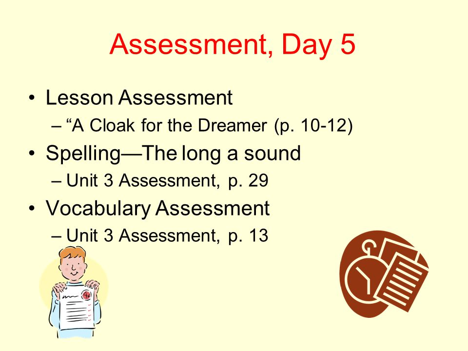 Assessment, Day 5 Lesson Assessment Spelling—The long a sound