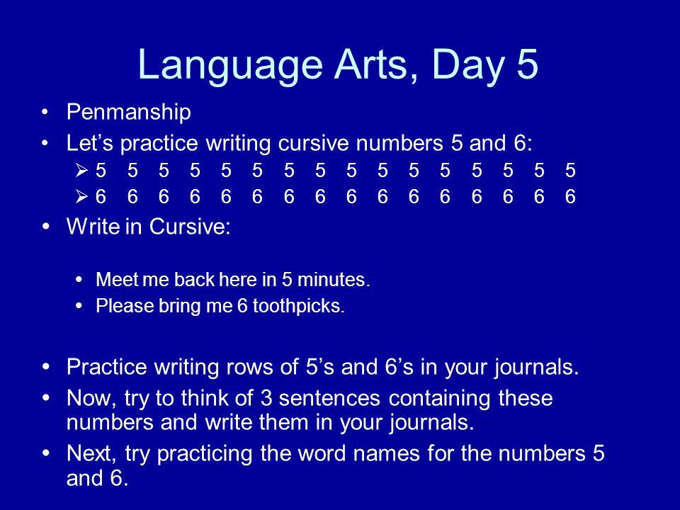 Language Arts, Day 5 Penmanship