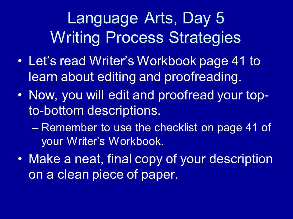 Language Arts, Day 5 Writing Process Strategies