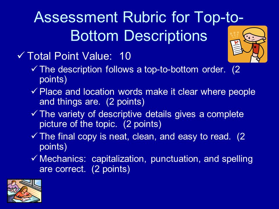 Assessment Rubric for Top-to-Bottom Descriptions