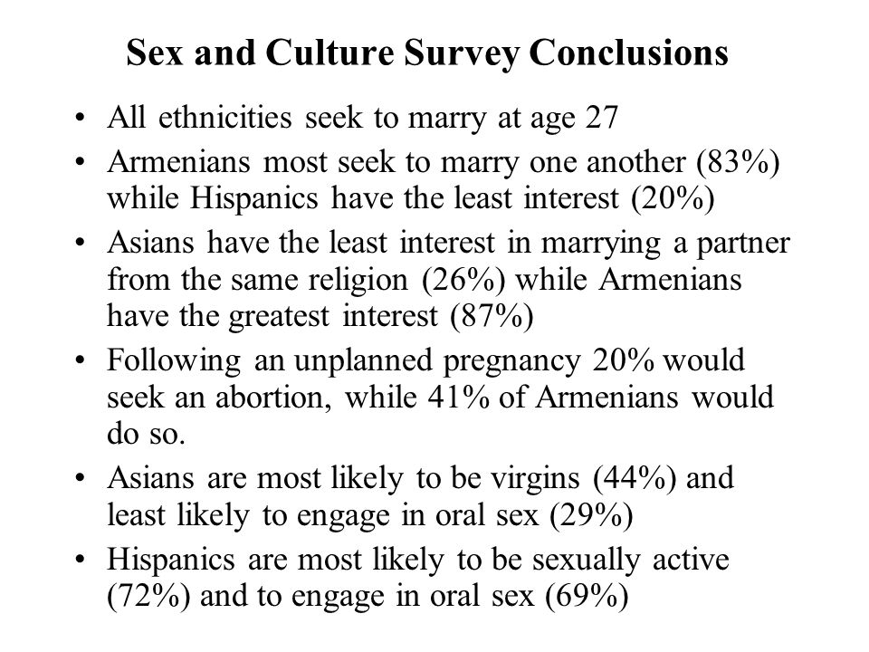 Sex and Culture Survey Conclusions