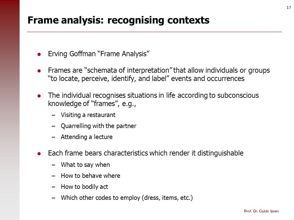Frame analysis: primary and secondary frames