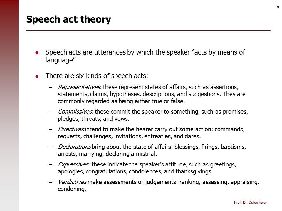 Speech act theory: Constituents of speech acts