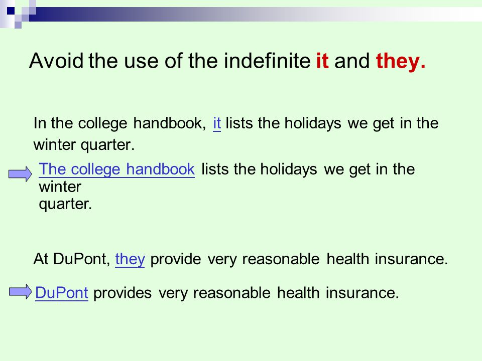 Avoid the use of the indefinite it and they.