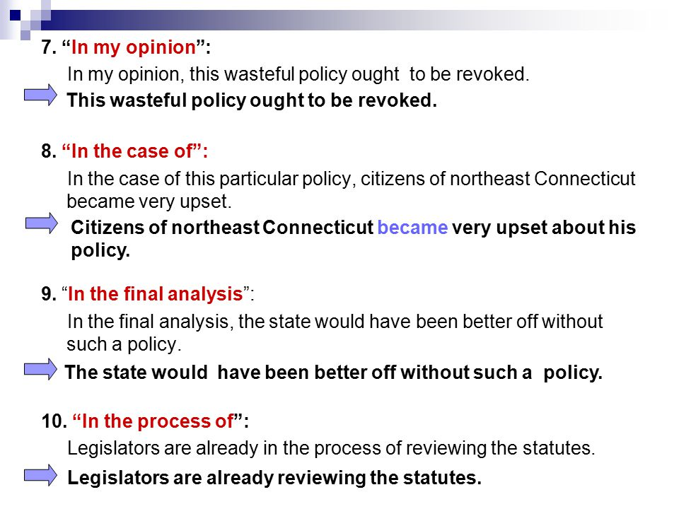 7. In my opinion : In my opinion, this wasteful policy ought to be revoked. 8. In the case of :