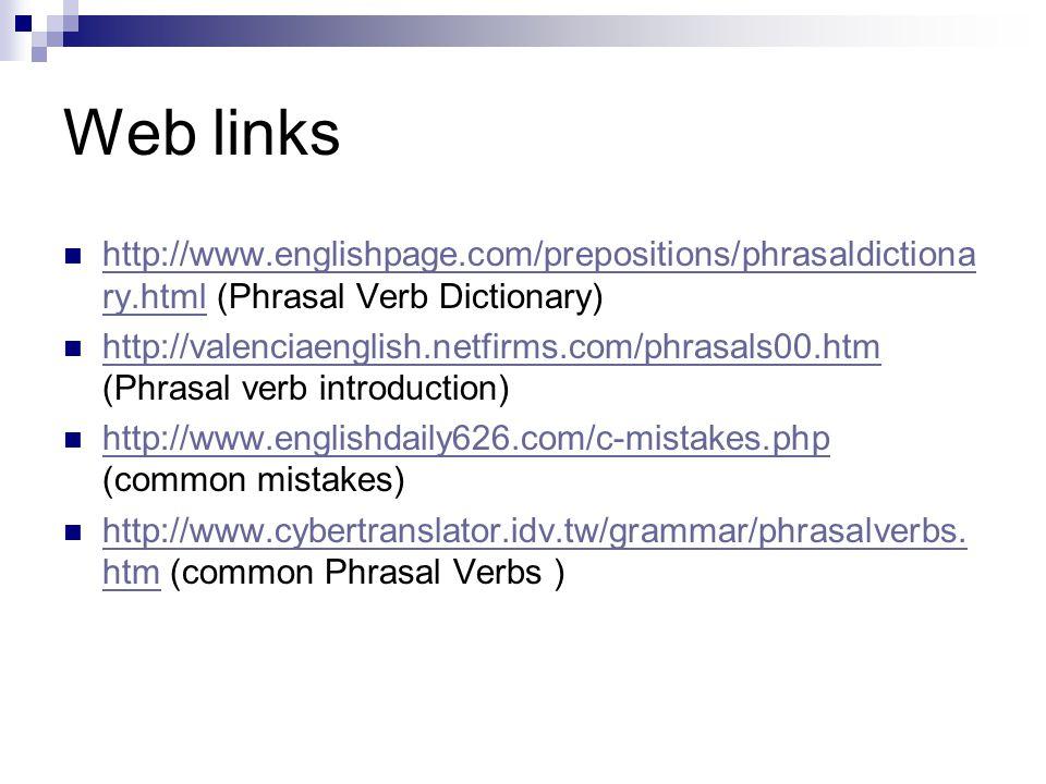 Web links http://www.englishpage.com/prepositions/phrasaldictionary.html (Phrasal Verb Dictionary)
