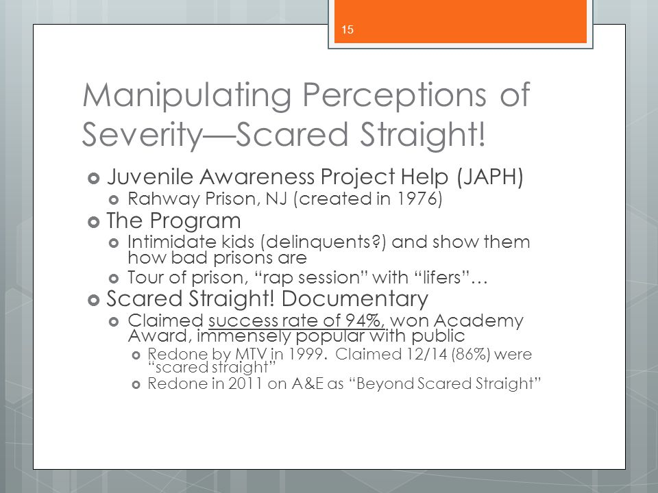 Manipulating Perceptions of Severity—Scared Straight!