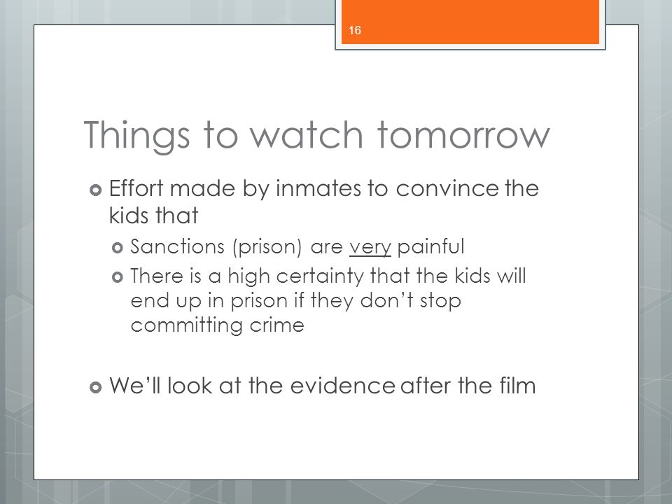 Things to watch tomorrow
