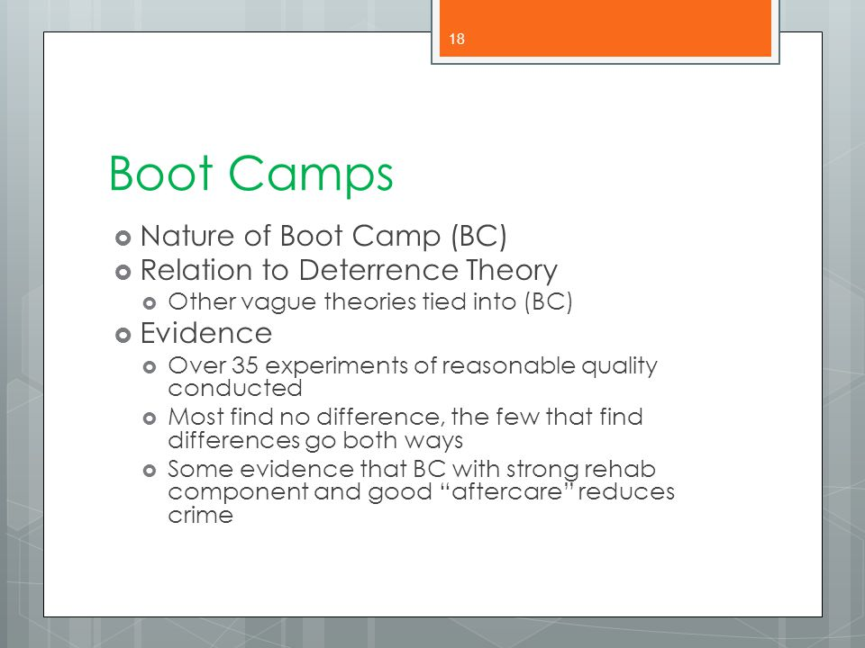 Boot Camps Nature of Boot Camp (BC) Relation to Deterrence Theory