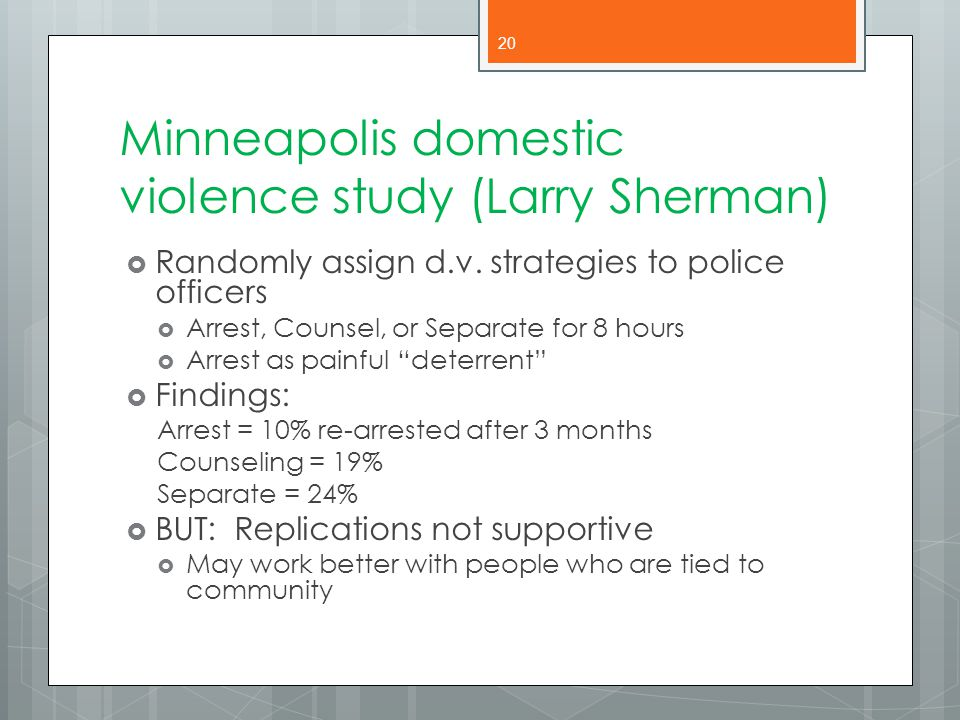 Minneapolis domestic violence study (Larry Sherman)