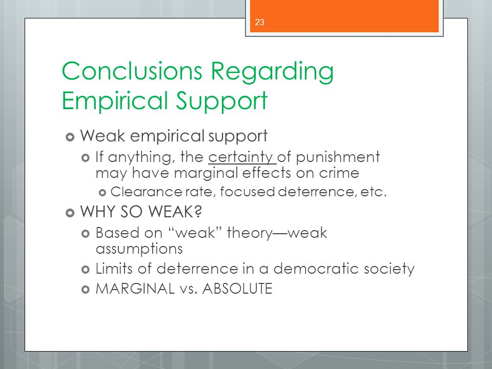 Conclusions Regarding Empirical Support