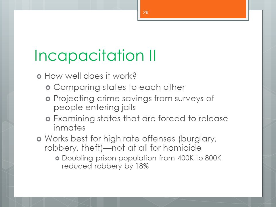 Incapacitation II How well does it work
