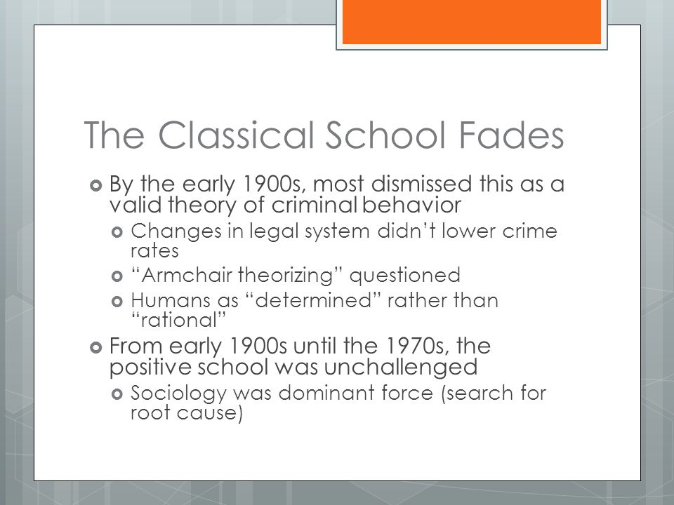 The Classical School Fades