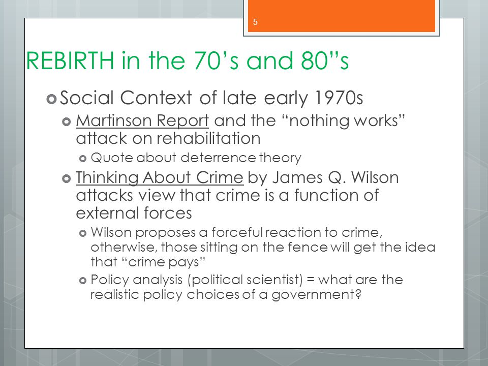REBIRTH in the 70's and 80 s Social Context of late early 1970s
