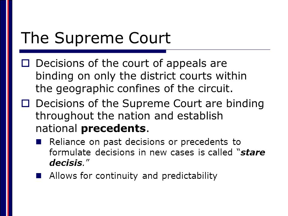 The Supreme Court Decisions of the court of appeals are binding on only the district courts within the geographic confines of the circuit.