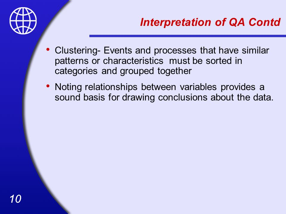 Interpretation of QA Contd