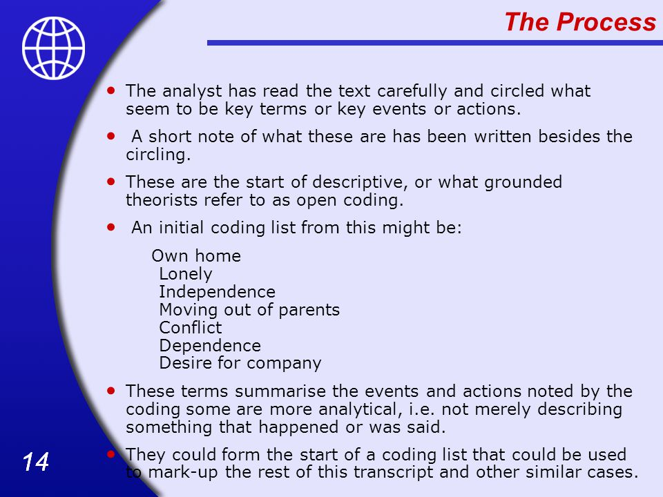 The Process The analyst has read the text carefully and circled what seem to be key terms or key events or actions.